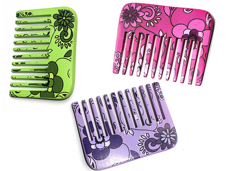 Flower Style Natural  Wooden Hair Comb  C8